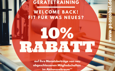 10% RABATT Gerätetraining –  Welcome Back!